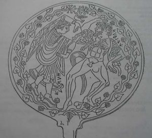 "An Etruscan Mirror: From a book by Giuseppe Foscarini, ""La Lingua degli Etruschi"", Item 11, p. 31."