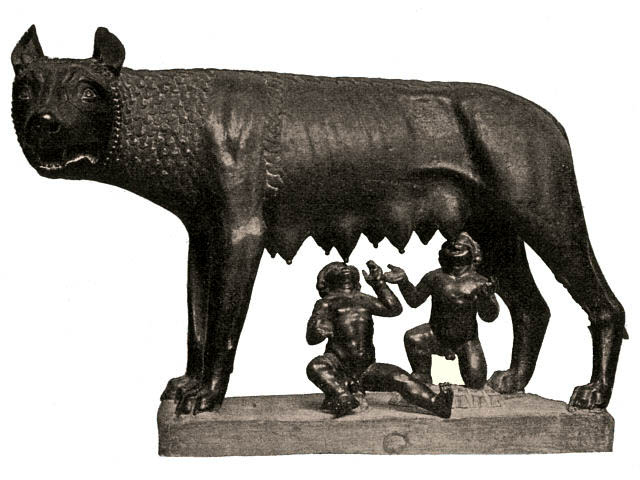 The wolf, feeding the twins Romulus and Remus